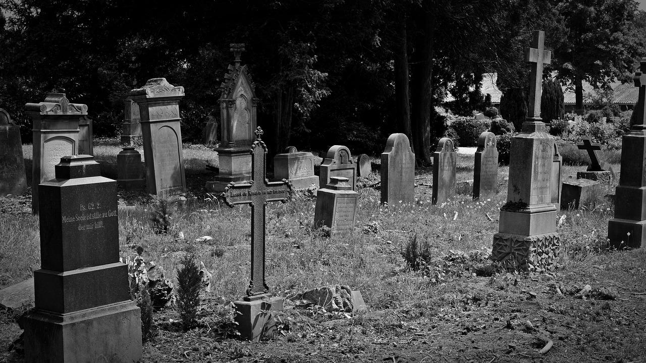 墓場の坂を下りてくる人